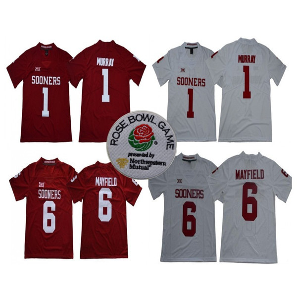 check out 346b4 c1345 2019 NCAA Oklahoma Sooners #1 Kyler Murray #6 Baker Mayfield 2018 New Brand  Rose Bowl Patch Limited Stitched College Football Jerseys From ...