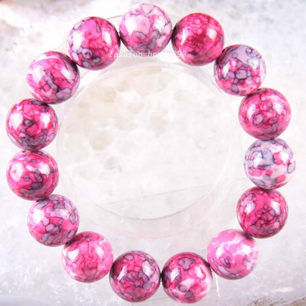 Livraison Gratuite Stretch 14mm Perles Rondes Naturel Bracelet En Pierre Rouge 8 pouces 1 Pcs H1846