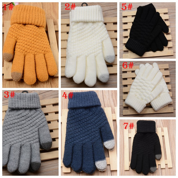 7 styles Solid stretch Magic Touch Gloves Men Warm Winter Knit Wool Gloves Full Finger Crochet Gloves