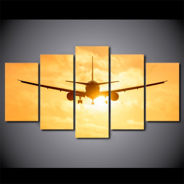 HD Printed 5 Piece Canvas Art Airplane in Sunset Canvas Painting Wall Pictures for Living Room Home Decor Free Shipping CU-2998C