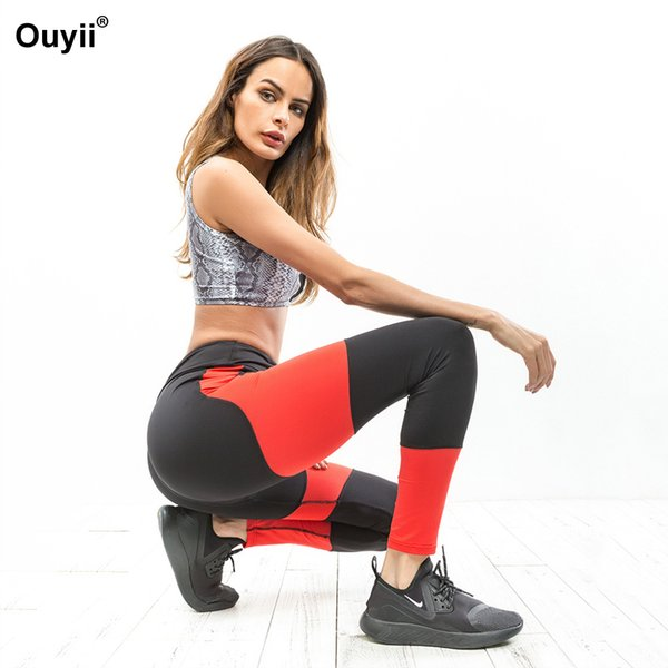 Women Hot Sale Yoga Pants Black And Red Color Matching Outdoor Jogging Leggings Compression Tights Pant
