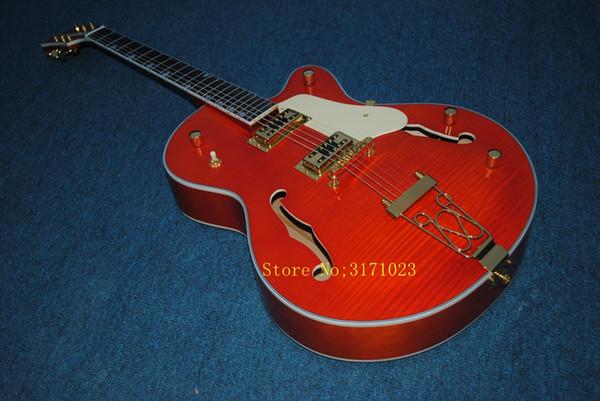 Custom Shop Top Quality Tiger Flame Maple Top Orange Falcon 6120 Semi Hollow Body Jazz Electric Guitar Chrome Hardware free shipping