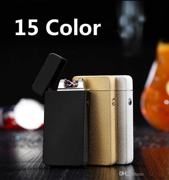 15Color Double fire cross twin arc Double cross fire ice new electric arc gold colorful charge usb lighters Including retail packaging b808
