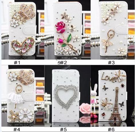 Para iPhone 8 Plus iPhone X Bling Csae Caver Funda Crystal Leather Flip 3D Rhinestone Diamond Stand Wallet Case