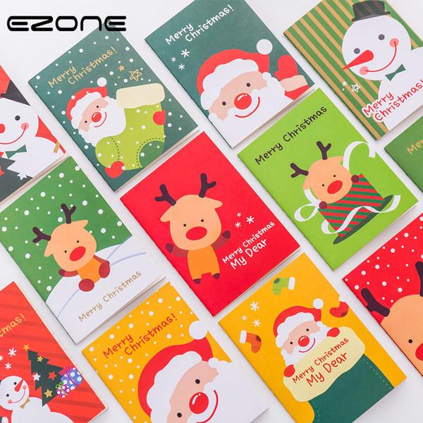 EZONE Mini Christmas Notebook Kawaii Printed Santa Claus/Snowman/Elk Notepad For Children Christmas Gifts Traveler Diary Supply