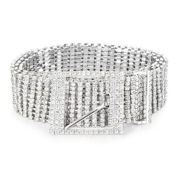 Metal Chain Belts Women Diamante Crystal Chain Belt Full Rhinestone Bride Wide Bling Female Waist Belt Shiny Waistband