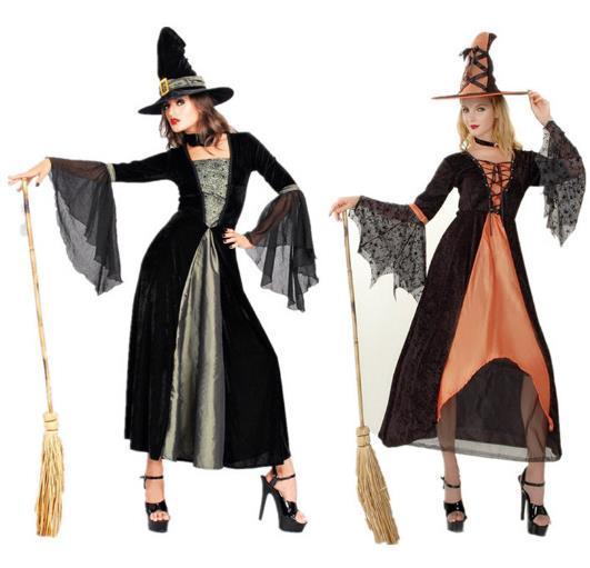 femmina strega manica lunga doppio colore costume ruolo che gioca costumi del partito di Halloween cosplay prestazioni delle donne vestiti