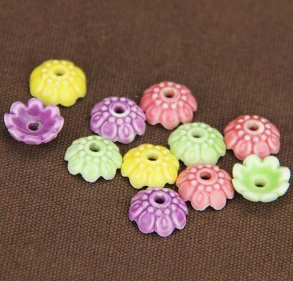 30 adet, 10mm, delik boyutu yaklaşık 3mm Porselen Boncuk, karışık renk, çiçek seramik DIY gevşek boncuk takı bulma
