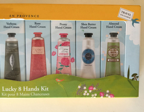 top popular 30 ml *8 Lucky & Hands kit Hand Cream kit pour 8 Mains Chanceuses travel exclusive hand skin care sets DHL free 2021