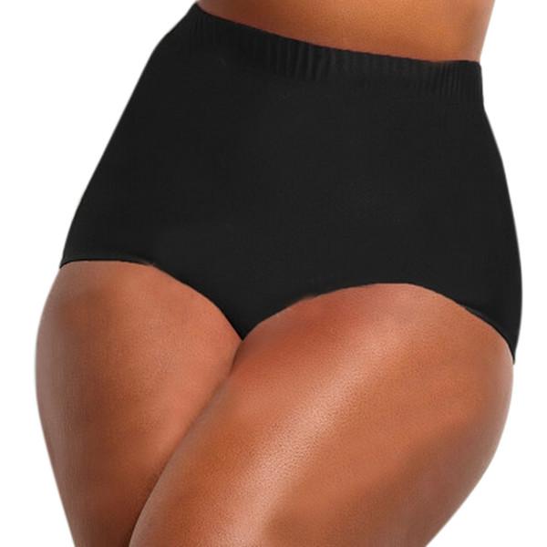 Troncos de natación de cintura alta sólidos de gran tamaño femeninos Bikini de cintura alta con cintura de Tankini Incrustaciones de natación Pantalones de baño Baño