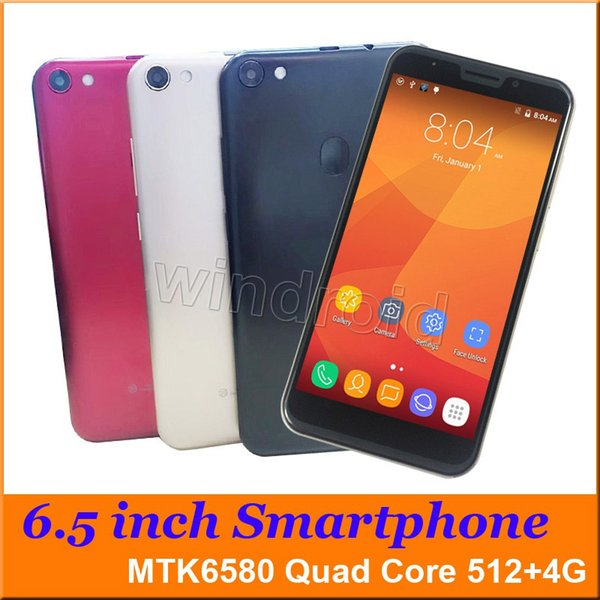 "Cheapest 6.5"" MTK6580 Quad Core Smart phone Android 6.0 4GB 1280*720 Dual SIM cam 5MP 3G WCDMA unlocked gesture big screen phablet mobile"