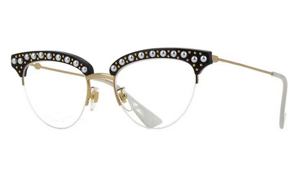 New fashion women designer optical glasses 0213half frame charming cat eye frame with pearl and rivets clear lens top quality