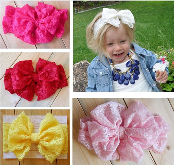 7 Color Baby Big Lace Bow Headbands Girls Cute Bow Hair Band Infant Lovely Headwrap Children Bowknot Elastic Accessories Sweetgirl TO612