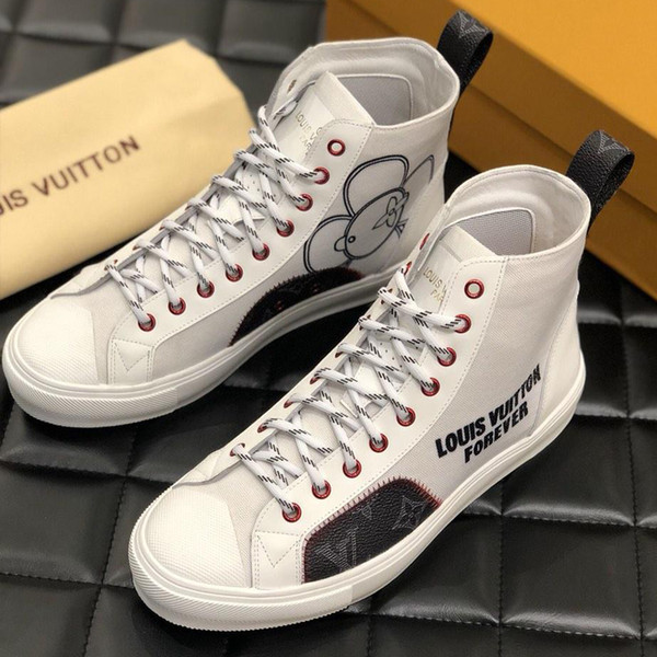 Brand men's casual shoes Cotton and Monogram canvas material Cut-out sneakers Monogram pull at heel with rubber sole