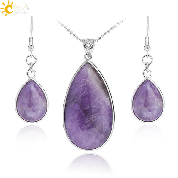 CSJA Women Boho Jewelry Sets Natural Gem Stone Water Drop Necklace Earring Set Lapis Lazuli Opal Pink Quartz Chakra Healing E567
