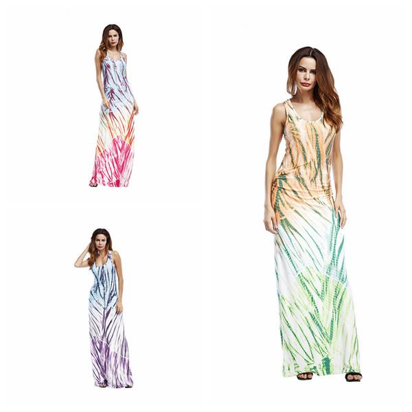 Vestido sin mangas del chaleco de las mujeres 3 colores Impreso Beach  Summer Dresses Vestidos de noche largos delgados Vestidos ocasionales  OOA5114 7e8994e0eef3