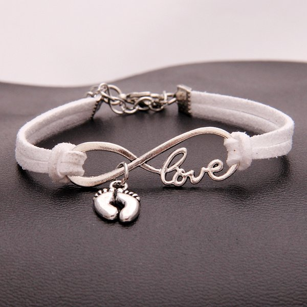 White Charm Silver Infinity Love Foot Feet Pendant Charm Bracelets Bangles for Women Men With Handmade Leather Suede Wrap Femme Male Jewelry