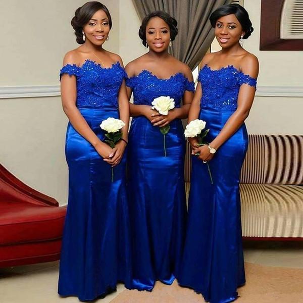 Kraliyet Mavi Gelinlik Modelleri Artı Boyutu Dantel Aplikler Saten Düğün Konuk Elbise Siyah Kızlar Için Kapalı Omuz Mermaid Hizmetçi Onur Elbiseler