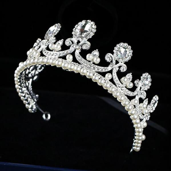 Pearl Silver Crown Princess Princess Birthday crown wedding dress accessories crown ornament