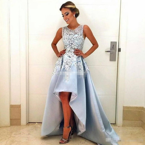Cheap High Low Prom Dresses Light Sky Blue 2017 Custom Made Lace Sleeveless A-Line Satin Special Occasion Dress Evening Party Gowns Arabic