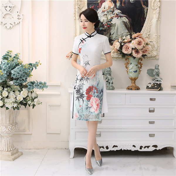 Shanghai Story White Aodai Vietnam Dress For Women Traditional Clothing Dress Knee Length Oriental Chinese Style Cheongsam