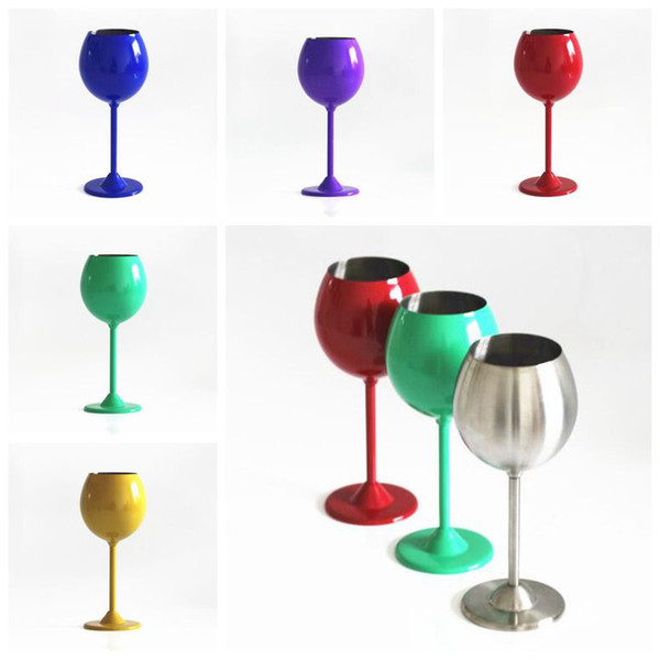 5 Colors 350ml Wine Glasses Stainless Steel Single Layer Cups Red Wine Cups Stem Wine Goblet CCA9253 100pcs