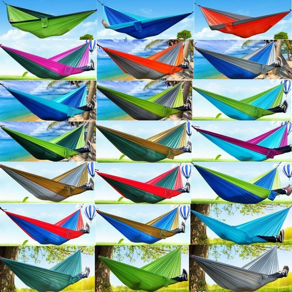 top popular Top Quality Portable Nylon Parachute Double Person Hammock Outdoor Camping Safe Outdoor Gear ravel Hammock Sleeping Bag 270X140cm 2019