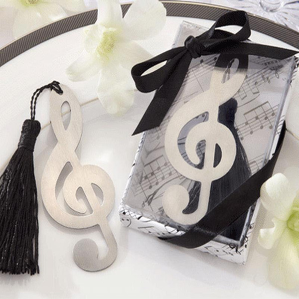 Wholesale 20PC Music Note Bookmarks With Tassel Metal Bookmark Stationery Party Favor Birthday Gifts Wedding Gifts