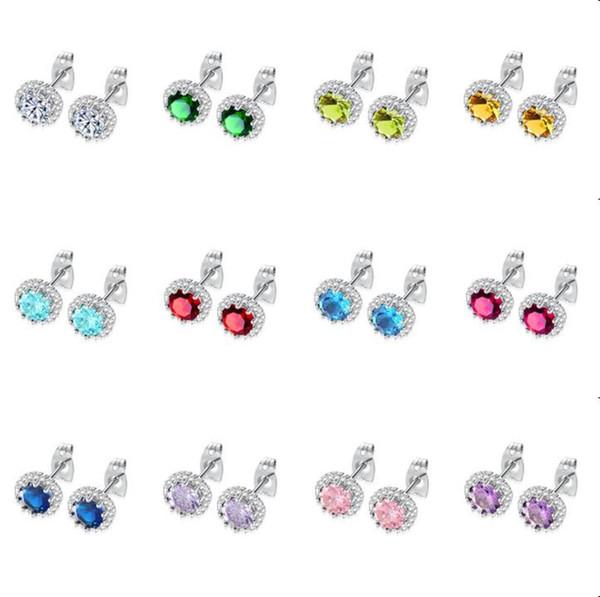 12 Colors fashion birthstone earrings jewelry korean style cz stud earrings for women girls shining 8mm cubic zirconia earings mix order