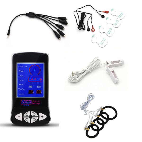 Electro Shock Kit E-Stim Penis Ring Elettrico Morsetti per capezzoli per il corpo Cuscini per il massaggio Stimolazione Giocattoli del sesso Per coppie Gioco per adulti