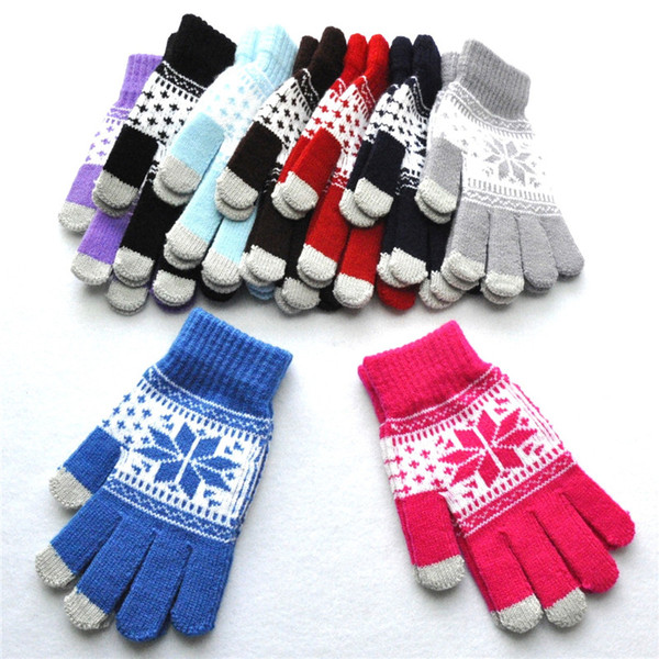 9 Styles Winter Warm Jacquard Maple Leaf Pattern Knitted Gloves Student Thickened Touch Screen Mittens Unisex Christmas Gift H919Q