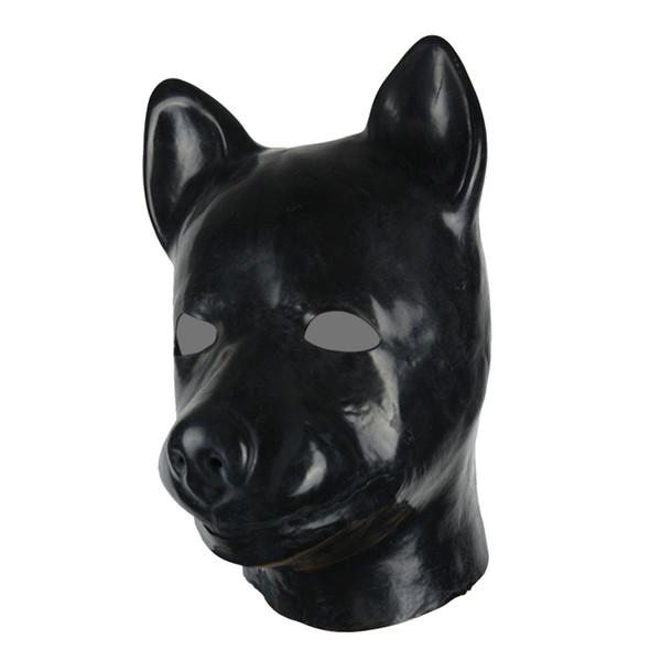 3D mould full head latex dog mask rubber hood unisex fetish latex dog BDSM slave hood sexy