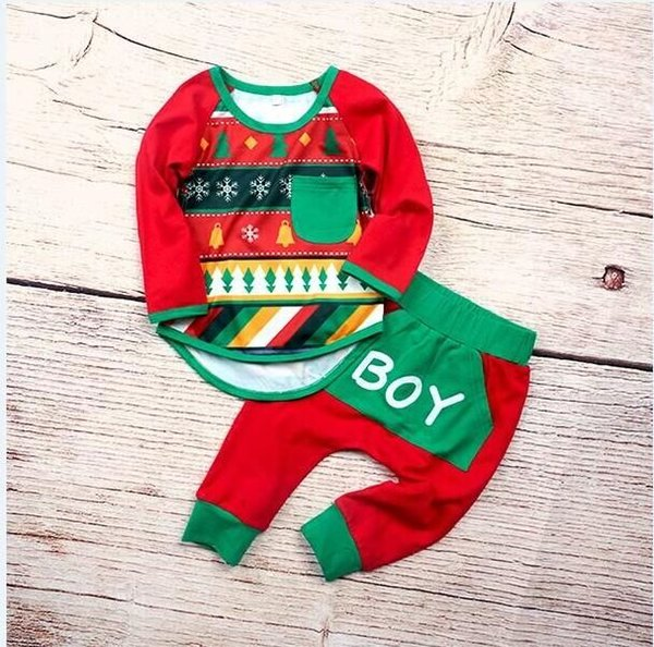 2018 NEW Baby boy Christmas Snowflake Bells Top Long Shirts +Boy Long pants Outfits Xmas Dress 2pcs Set for Girl Baby GG406C(aibebe)