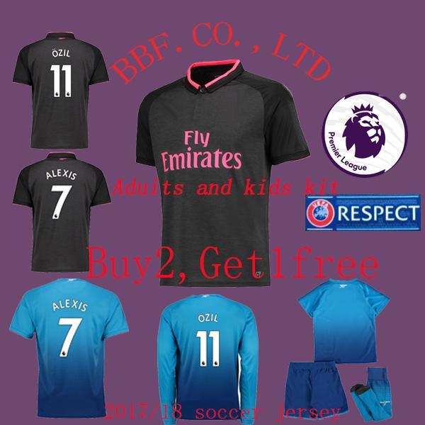 529ca9007 TOP Thailand premier football shirts 2017 2018 Home away third Adult kids  Soccer Jersey OZIL ALEXLS WILSHERE KOLASINAC 1819 football shirt