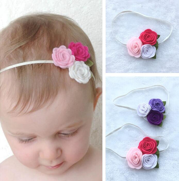 Christmas Headband For Baby Girl.Triple Felt Rose Flower Headband For Kids Baby Girl Christmas Headband Toddler Headwear Princess Photo Props Hair Accessories Hair Bow Hair