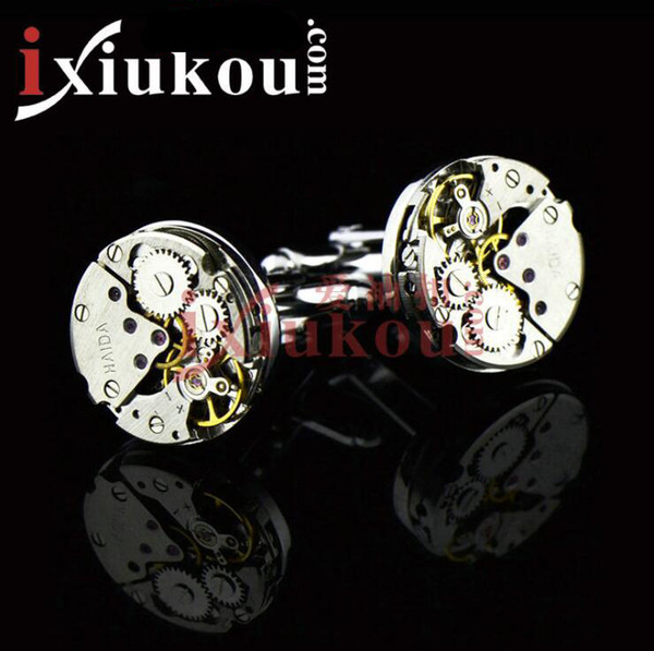 2019 Mechanical Watch Movement Steampunk Mens Wedding Vintage Gold Plated Cufflinks Sleeve Nail French Business Shirt Cuff Links Gift