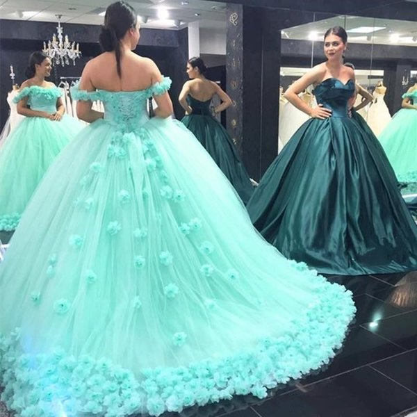 2019 Verde menta Quinceanera Dress Principessa Off spalle Backless Sweet 16 Ages Long Ragazze Prom Party Pageant Gown Plus Size Custom Made