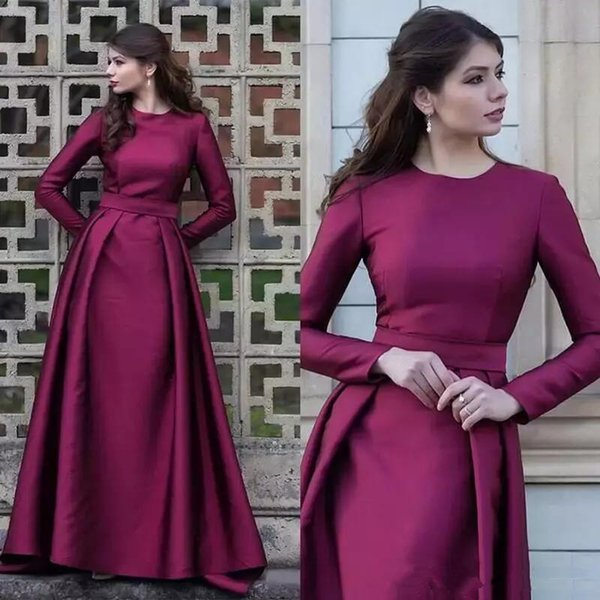 Cheap Simple Design Mother Of The Bride Dress Jewel Neck Long Sleeves Plus Size Formal Evening Party Gowns For Mother Groom