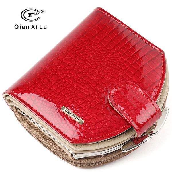 New Brand Design Mini Wallets Women Hobo Purses Fashion Patent Leather Coin Wallets Red and black Female Money Bag S915