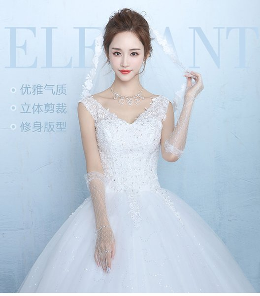 Factory Outlet Cheap Strapless Lace Wedding Gown Dress A line Bateau/V neck Beaded Flower Plus Size pregnant women Wedding Dresses W45