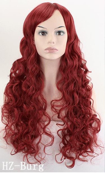 Wig Long Wavy Costume Party Cosplay Wig Dark Red white black 70 Cm Synthetic Hair Wigs