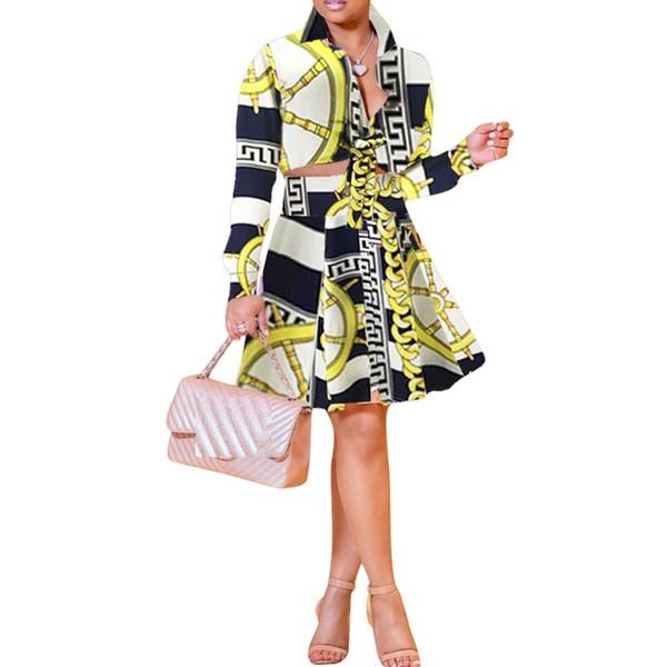 Sexy 2 Piece Set Dress Women Summer Deep-V Neck Long Sleeve Crop Tops + Mini Pleated Skirts Suits Club Two Piece Matching Set