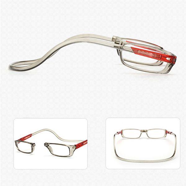 Unisex Imán gafas de lectura Hombres y Mujeres Cuello Colgante Ajustable Magnético Borde Frontal Lectura Anteojos Gafas