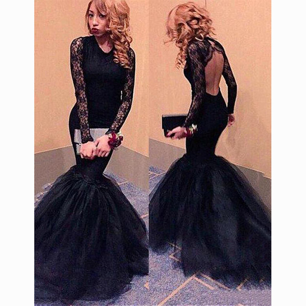 Glamorous Black Tulle Lace Scoop Neckline Mermaid Evening Dresses Sexy Long Sleeves Backless Prom Party Dresse Formal Evening Gowns
