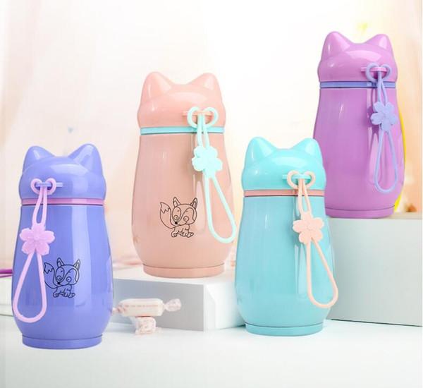 Bicchieri per acqua delicati personalizzabili in acciaio inox da 300 ml Boccette per bambini in silicone per bambini Vacuum Vacuum Flasks Thermos Flask
