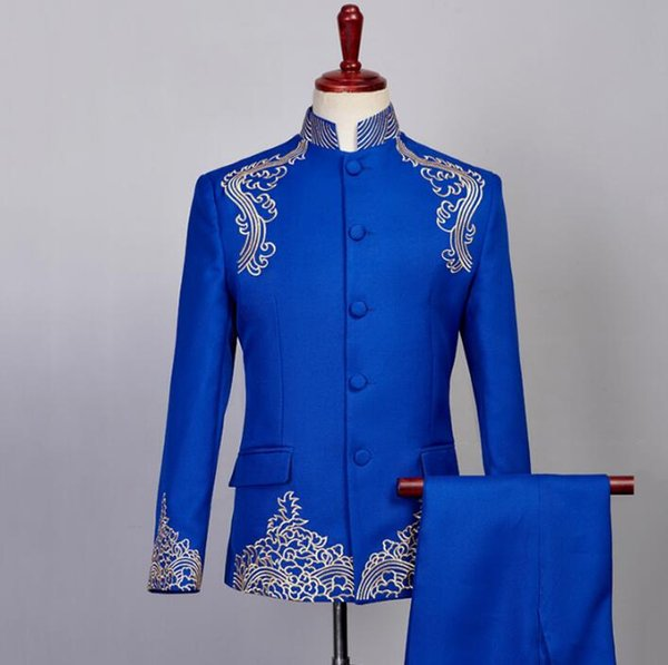 Singer star style dance stage clothing for men groom suit set with pants mens Chinese tunic suit stand collar formal dress blue