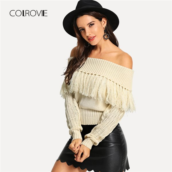 COLROVIE Beige Solid Off The Shoulder Fringe Sexy Knitted Sweater Autumn 2018 Streetwear Women Pullover Winter Jumper Sweaters C18110601