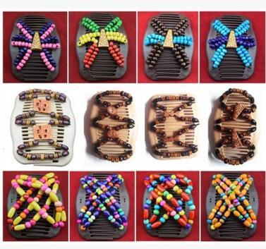 top popular Women Wooden Beads Hair Clips Mixed Different Styles Wood Magic Fashion Double Row Hot Accessories Hair Comb 60 pcs 2019