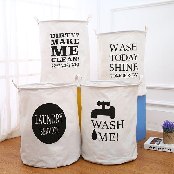 5pcs/lot Folding Cotton Linen Laundry Basket Dirty Clothes Storage Barrel Washing Hamper Kids Toys Sundries Organizer 40*50cm
