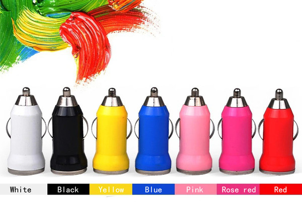 100pcs/lot USB car full charge bullet train sufficient 1A mobile charger color car charger car direct sales